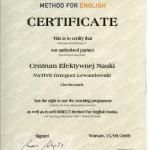 Certyfikat udzielający naszej szkole prawa do używania metody Direct English